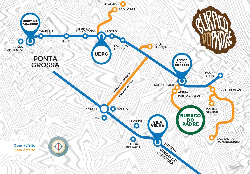 Pra quem sai de Curitiba é possível cortar caminho pouco antes de chegar a Ponta Grossa. Acesso é pela Rodovia do Palco (PR 513)