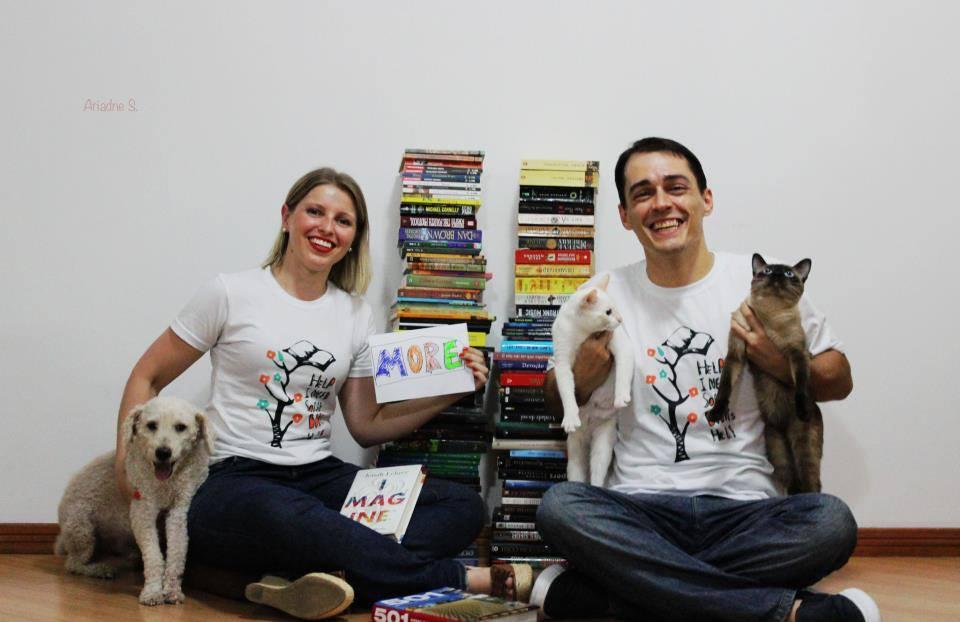 Voluntários engajados na divulgação do projeto e já vestindo as camisetas do Escolas do Sertão