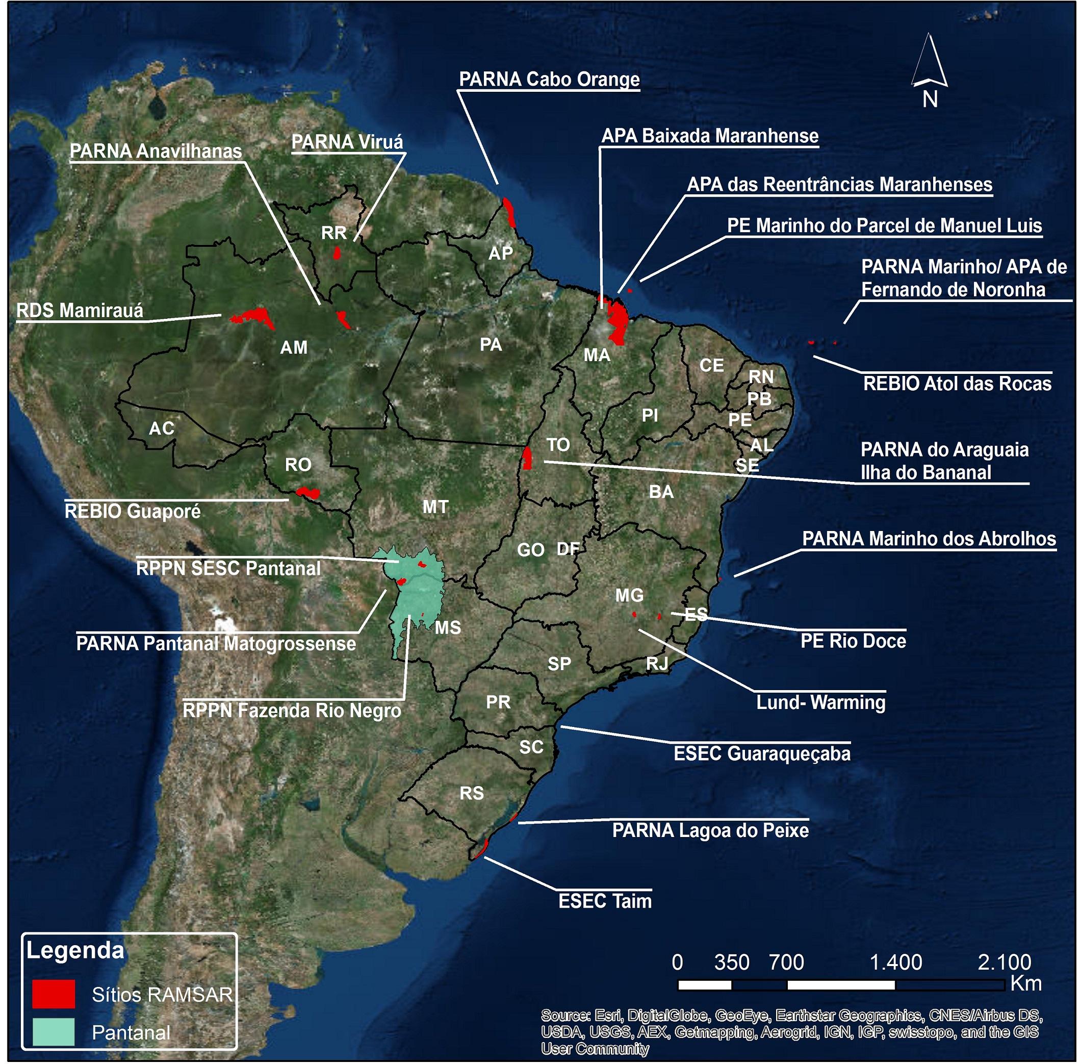 Mapa identifica onde se encontram as Áreas Úmidas no Brasil. Divulgação Fundação Grupo Boticário